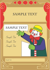 Happy clown party invitation template for kids