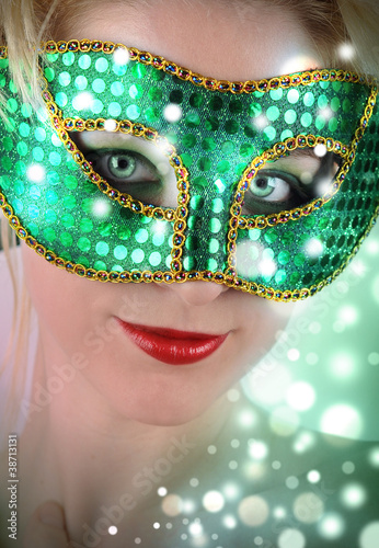 Woman in Green Costume Mask