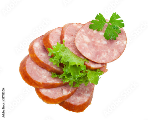 Sausage with green vegetable
