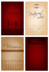 Set of four restaurant menu design
