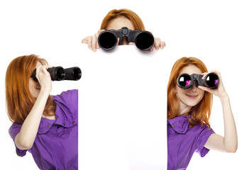 Three teen redhead girls with binoculars isolated on white backg