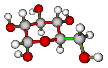 Glucose (α-D-glucopyranose) molecular structure
