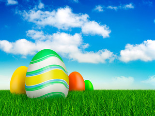Easter eggs on beautiful nature background