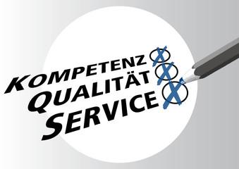 Kompetenz, Qualitaet, Service, Vertrauen, Kunde