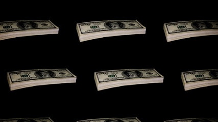 Many Packs of the dollars revolves on black background