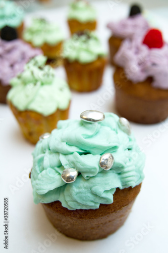 Some cupcakes on white background
