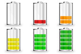 Batterie Symbole 0 bis 100 Prozent farbig