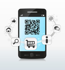 Smartphone qr code shopping