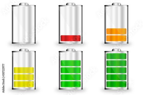 Leinwanddruck Bild Batterie Symbole 0 bis 100 Prozent farbig
