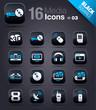 Black Squares - Media Icons