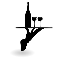 waiter carrying wine glasses on the tray black silhouette