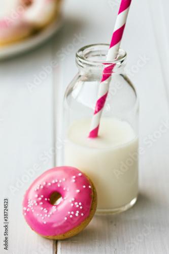 Doughnut and milk