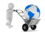 hand truck and globe on white background. Isolated 3D image