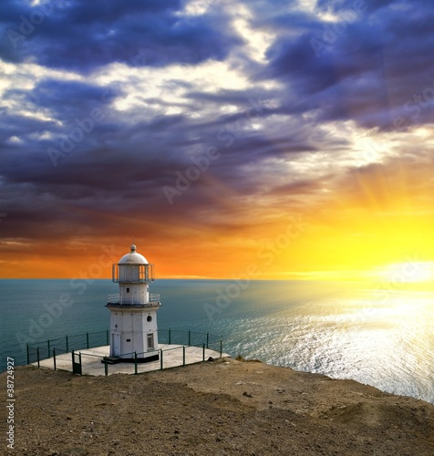 lighthouse on a sea coast