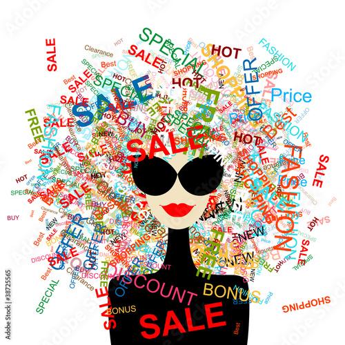 Papiers peints Visage de femme I love sale! Fashion woman with shopping concept for your design