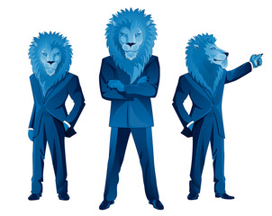 Lion businessman mascot