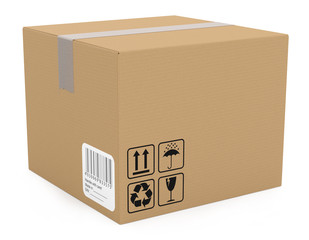 Cardboard box isolated on white. 3D model