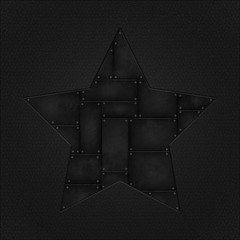 grunge metal star and leather background