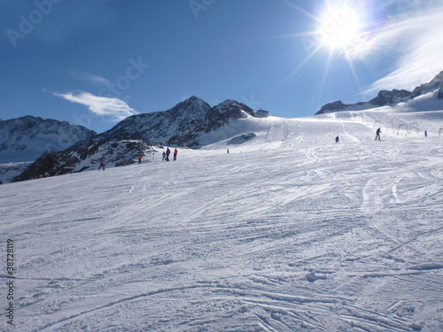 Shot of skiers on a mountain