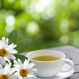 Chamomile tea served on terrace