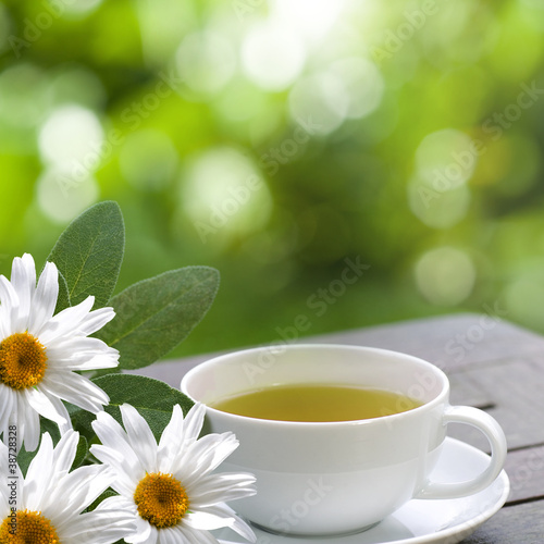 Fototapeta Chamomile tea served on terrace