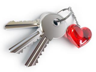 Keys, heart, key ring, on a white background, 3d render