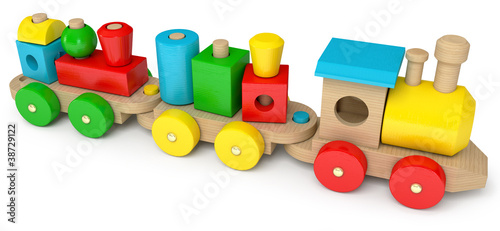 Wooden toy train, on a white background, 3d render