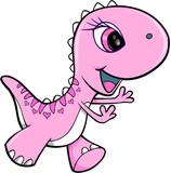 Fototapety Pink Girl Dinosaur Animal Vector Illustration Art
