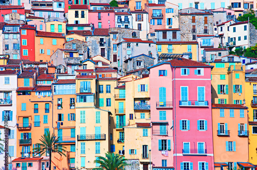Menton pastel colors houses, Cote d Azur, France - 38730315