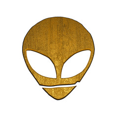3d golden alien symbol
