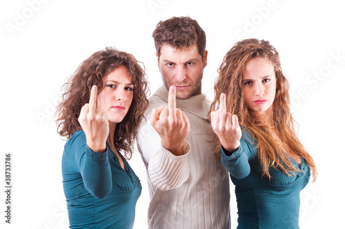 Three Friends Showing Middle Finger