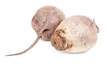 Two beet purple vegetable isolated on white background
