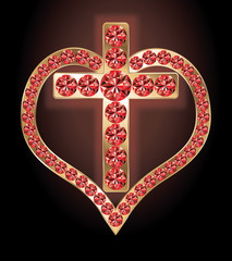 Ruby golden cross and heart, vector illustration