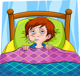 sick person lying in bed
