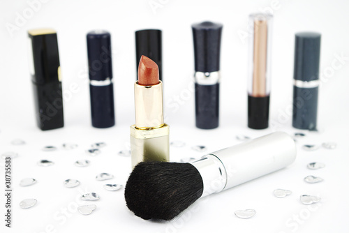 Lipstick and make-up brush.