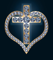 Diamond cross with heart, vector illustration