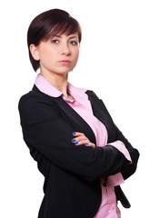 Geschäftsfrau hält sich die Arme vor die Brust