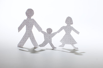 Paper people chain: men, woman and babies. Family concept.