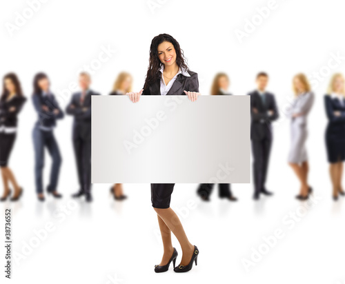 Business woman and  woman and group holding a banner