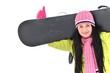 fille avec snowboard