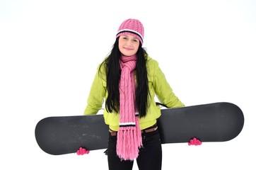 femme avec snowboard
