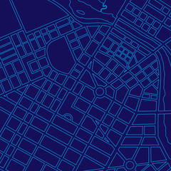 Blue digital map of a generic city