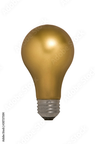 Gold Light Bulb Against White