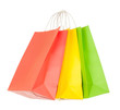 Red, yellow, green paper shopping bags