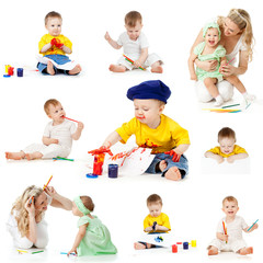 children painting and drawing pencils isolated on white backgrou