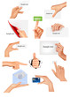 Set of hands holding different business objects.