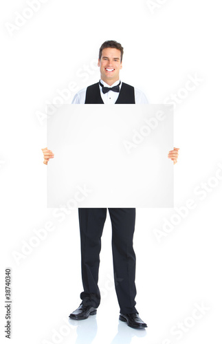 Waiter man with placard.