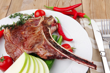 meat food : roast rib on white dish