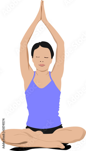 Woman practicing Yoga exercises. Vector Illustration of girl pos