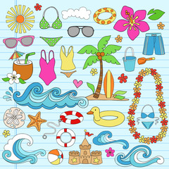 Summer Vacation Hawaiian Beach Doodles Vector